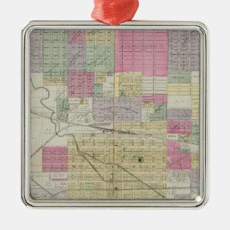 Ciudad de Hutchinson, el condado de Reno, Kansas Adorno Navideño Cuadrado De Metal