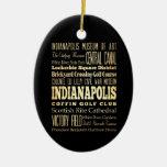 Ciudad de Indianapolis del arte de la tipografía Adorno Navideño Ovalado De Cerámica