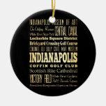 Ciudad de Indianapolis del arte de la tipografía Adorno Navideño Redondo De Cerámica
