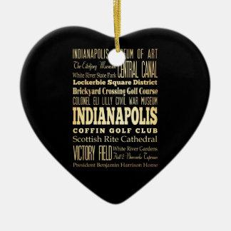 Ciudad de Indianapolis del arte de la tipografía Adorno De Cerámica En Forma De Corazón