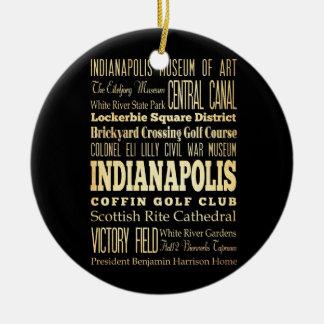 Ciudad de Indianapolis del arte de la tipografía Adorno Redondo De Cerámica