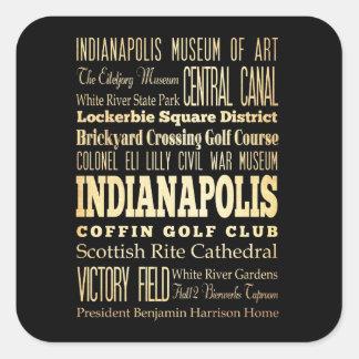 Ciudad de Indianapolis del arte de la tipografía Pegatina Cuadrada