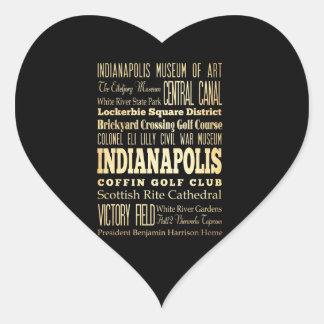 Ciudad de Indianapolis del arte de la tipografía Pegatina En Forma De Corazón
