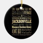 Ciudad de Jacksonville del arte de la tipografía d Ornaments Para Arbol De Navidad