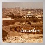 Ciudad de Jerusalén de la impresión del oro Póster
