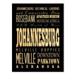 Ciudad de Johannesburg del arte de la tipografía d Postal