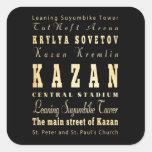 Ciudad de Kazán del arte de la tipografía de Rusia Calcomania Cuadradas Personalizadas