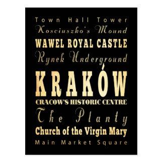 Ciudad de Kraków del arte de la tipografía de Tarjetas Postales