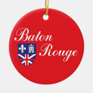 Ciudad de la bandera de Baton Rouge Ornamentos De Navidad