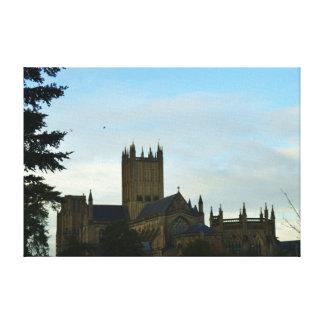 Ciudad de la catedral de los pozos Somerset Lienzo Envuelto Para Galerias