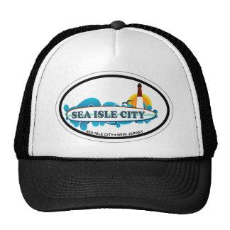 Ciudad de la isla del mar gorras de camionero