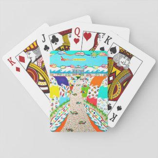 Ciudad de la isla del mar, tarjetas del póker de barajas de cartas