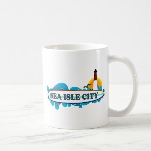 Ciudad de la isla del mar taza