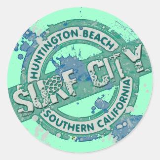 Ciudad de la resaca de Huntington Beach California Pegatina Redonda