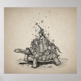 Ciudad de la tortuga - ejemplo de la pluma y de la posters