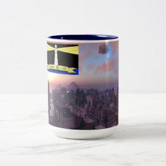 Ciudad de la trucha arco iris con la taza de la