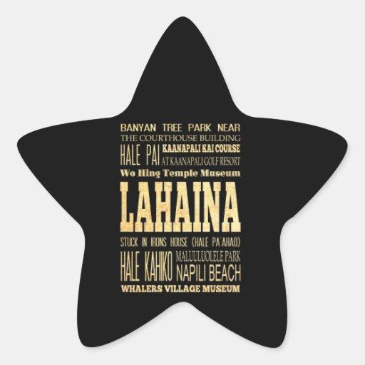 Ciudad de Lahaina del arte de la tipografía de Pegatina En Forma De Estrella