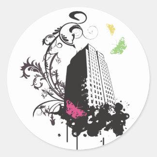 Ciudad de las mariposas (negro) pegatina redonda