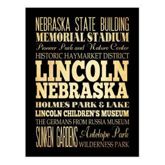 Ciudad de Lincoln del arte de la tipografía de Neb Tarjeta Postal