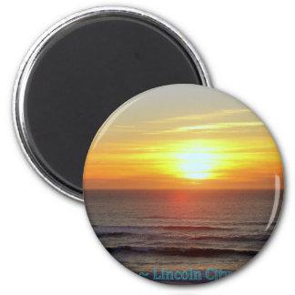 Ciudad de Lincoln, Oregon - puesta del sol Imán Redondo 5 Cm