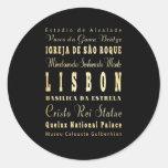 Ciudad de Lisboa del arte de la tipografía de Pegatina Redonda