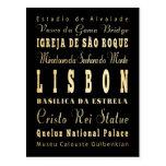 Ciudad de Lisboa del arte de la tipografía de Postal