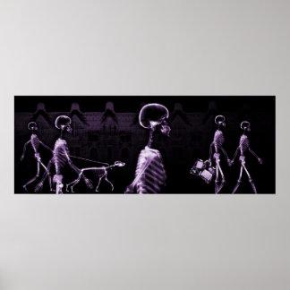 Ciudad de los esqueletos de la radiografía del fon posters