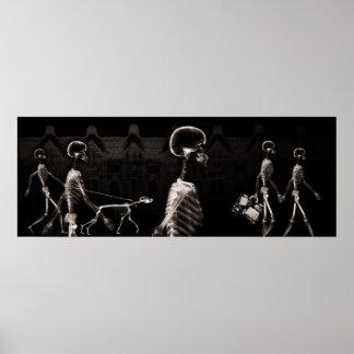 Ciudad de los esqueletos de la radiografía del fon póster