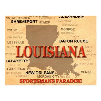 Ciudad de Luisiana y mapa del orgullo del estado Postales