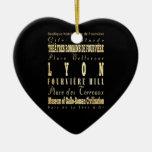 Ciudad de Lyon del arte de la tipografía de Adorno Navideño De Cerámica En Forma De Corazón