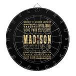 Ciudad de Madison del arte de la tipografía de Wis Tablero De Dardos