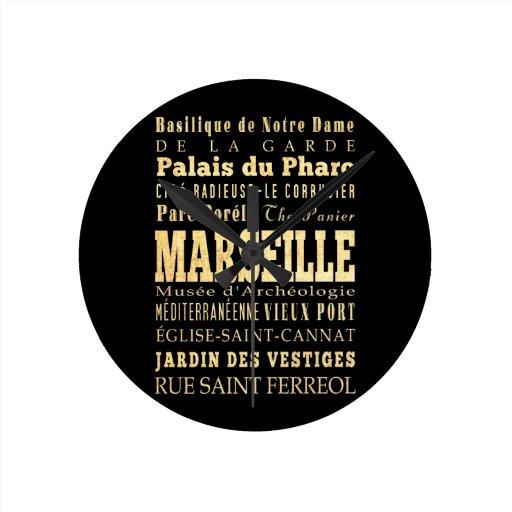 Ciudad de Marsella del arte de la tipografía de Fr Relojes