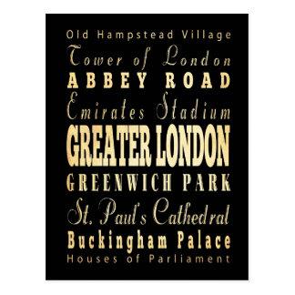 Ciudad de mayor Londres de la tipografía de Inglat Tarjetas Postales