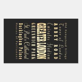 Ciudad de mayor Londres de la tipografía de Pegatina Rectangular