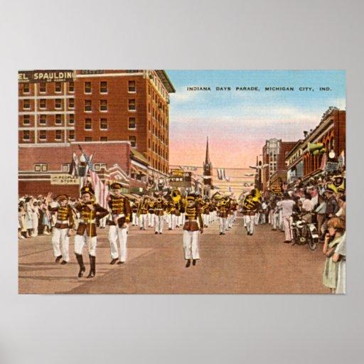 Ciudad de Michigan, desfile de los días de Indiana Poster