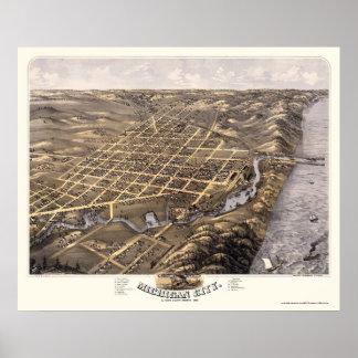 Ciudad de Michigan, EN el mapa panorámico - 1869b Posters