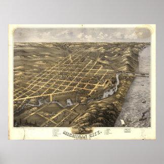 Ciudad de Michigan, Indiana 1869 Póster