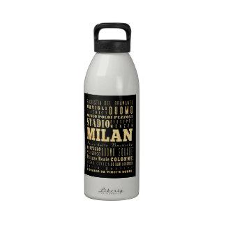 Ciudad de Milano del arte de la tipografía de Ital Botella De Agua