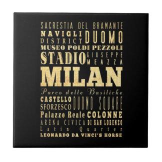 Ciudad de Milano del arte de la tipografía de Ital Tejas