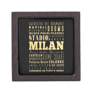 Ciudad de Milano del arte de la tipografía de Ital Cajas De Recuerdo De Calidad