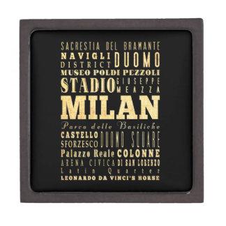 Ciudad de Milano del arte de la tipografía de Ital Cajas De Regalo De Calidad