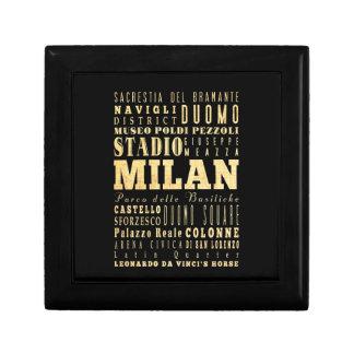 Ciudad de Milano del arte de la tipografía de Ital Caja De Regalo