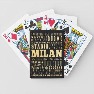 Ciudad de Milano del arte de la tipografía de Ital Baraja Cartas De Poker