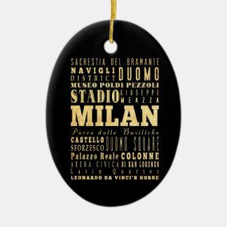 Ciudad de Milano del arte de la tipografía de Ital Ornaments Para Arbol De Navidad