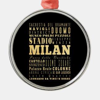 Ciudad de Milano del arte de la tipografía de Ital Ornamentos De Navidad