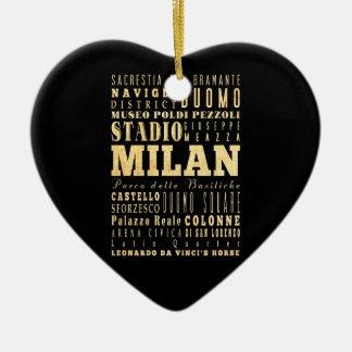 Ciudad de Milano del arte de la tipografía de Ital Ornamento Para Arbol De Navidad