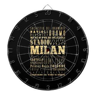 Ciudad de Milano del arte de la tipografía de Ital Tablero De Dardos
