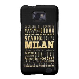 Ciudad de Milano del arte de la tipografía de Ital Samsung Galaxy S2 Carcasa