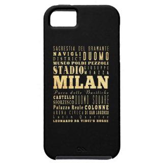 Ciudad de Milano del arte de la tipografía de Ital iPhone 5 Cárcasas