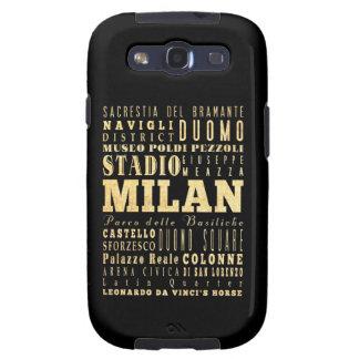 Ciudad de Milano del arte de la tipografía de Ital Samsung Galaxy S3 Fundas
